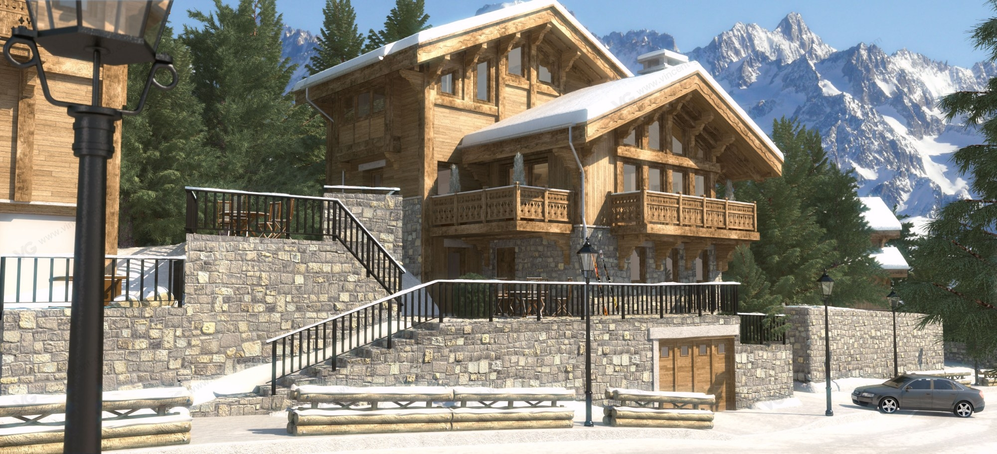 Illustrations 3d d 39 un chalet courchevel 1850 vincent grieu infographiste 3d - Chalet architectuur ...