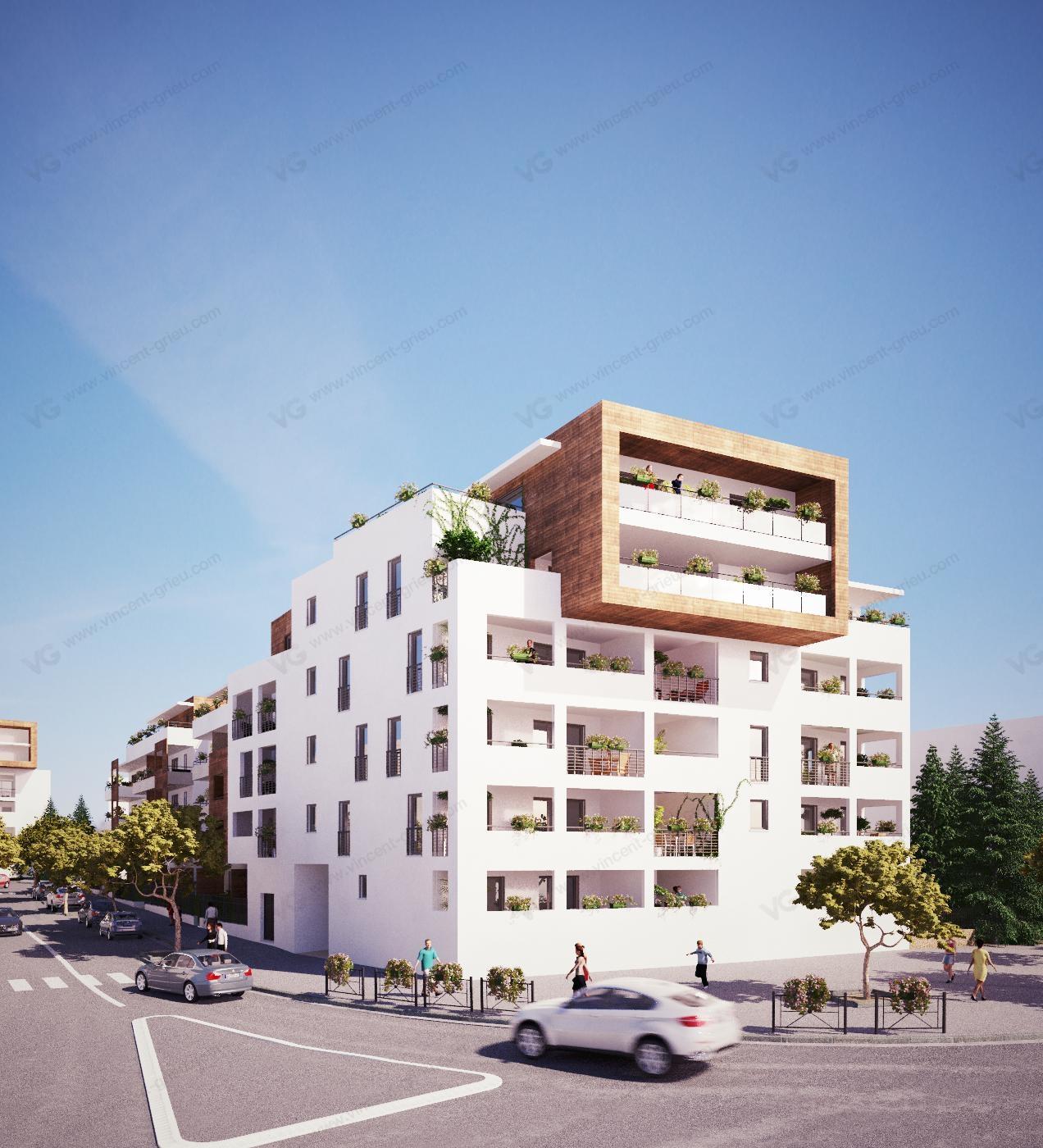 Perspectives 3d d 39 un programme immobilier sur montpellier for Programme appartement