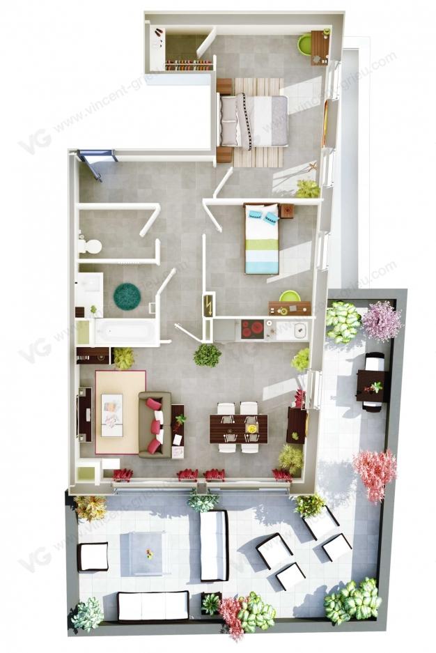 infographie 3d d 39 un programme neuf montpellier vincent grieu infographiste 3d. Black Bedroom Furniture Sets. Home Design Ideas