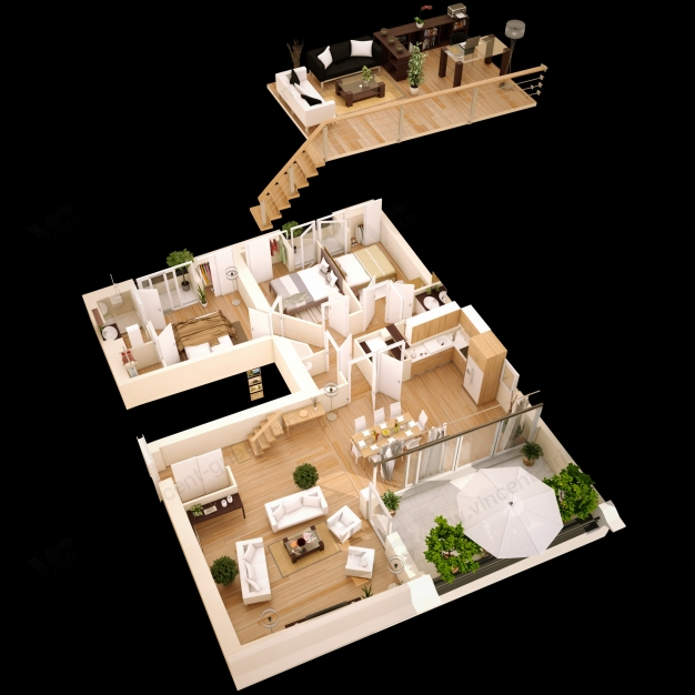 Illustrations d 39 un programme immobilier urbain vincent for Plan appartement 3d
