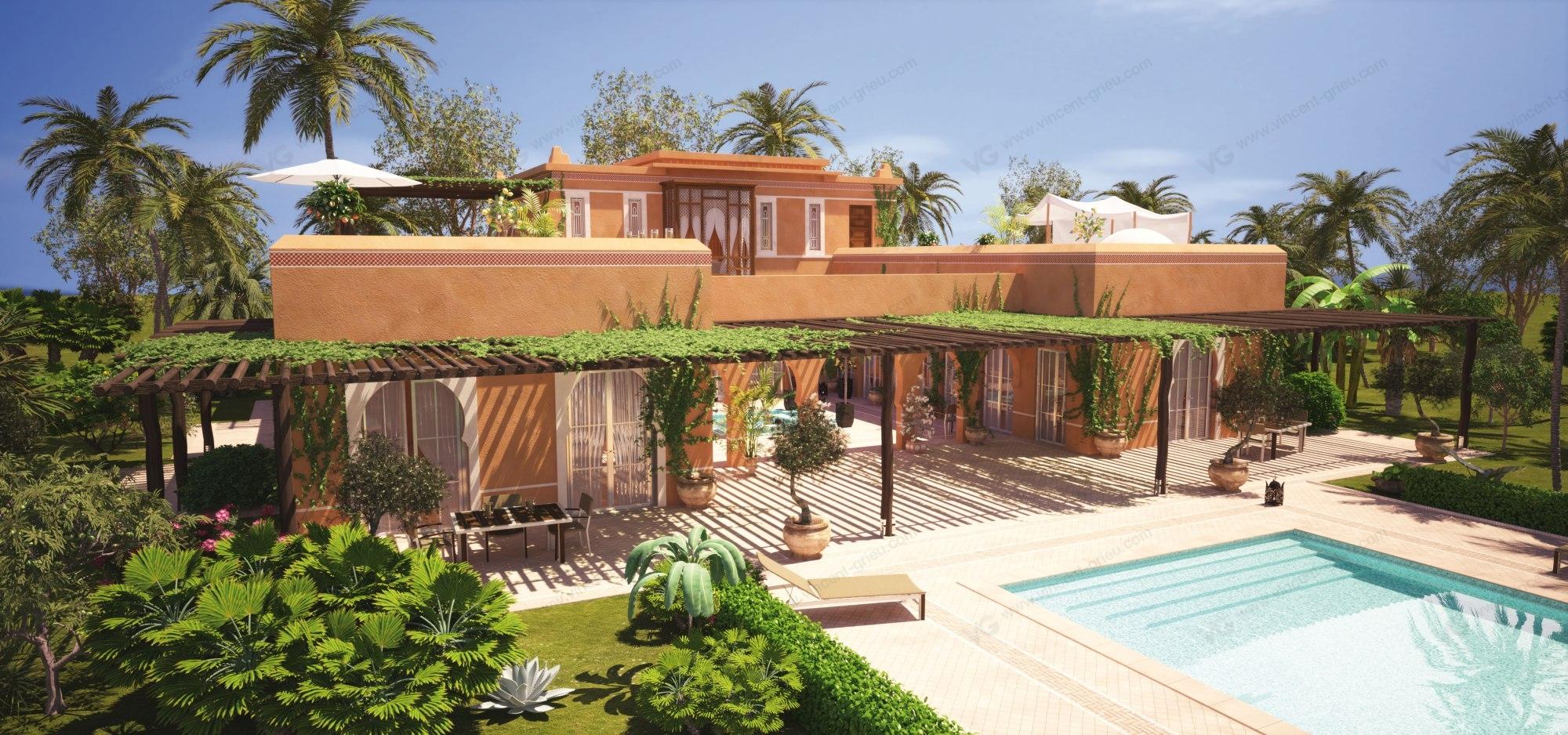 r alisation en 3d d 39 un riad de prestige marrakech vincent grieu infographiste 3d. Black Bedroom Furniture Sets. Home Design Ideas