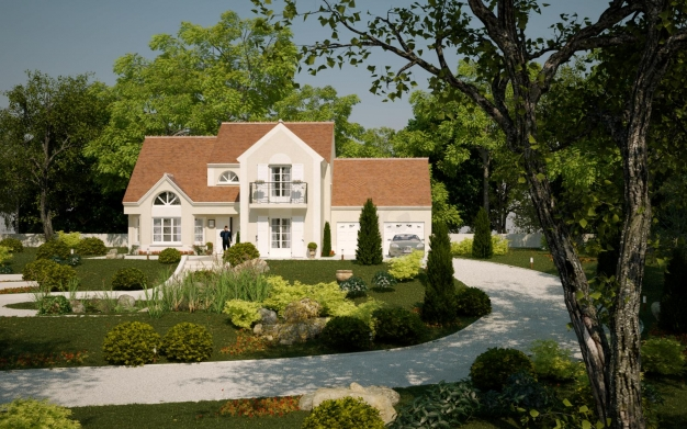Infographie 3d pour une construction individuelle de for Villa individuelle