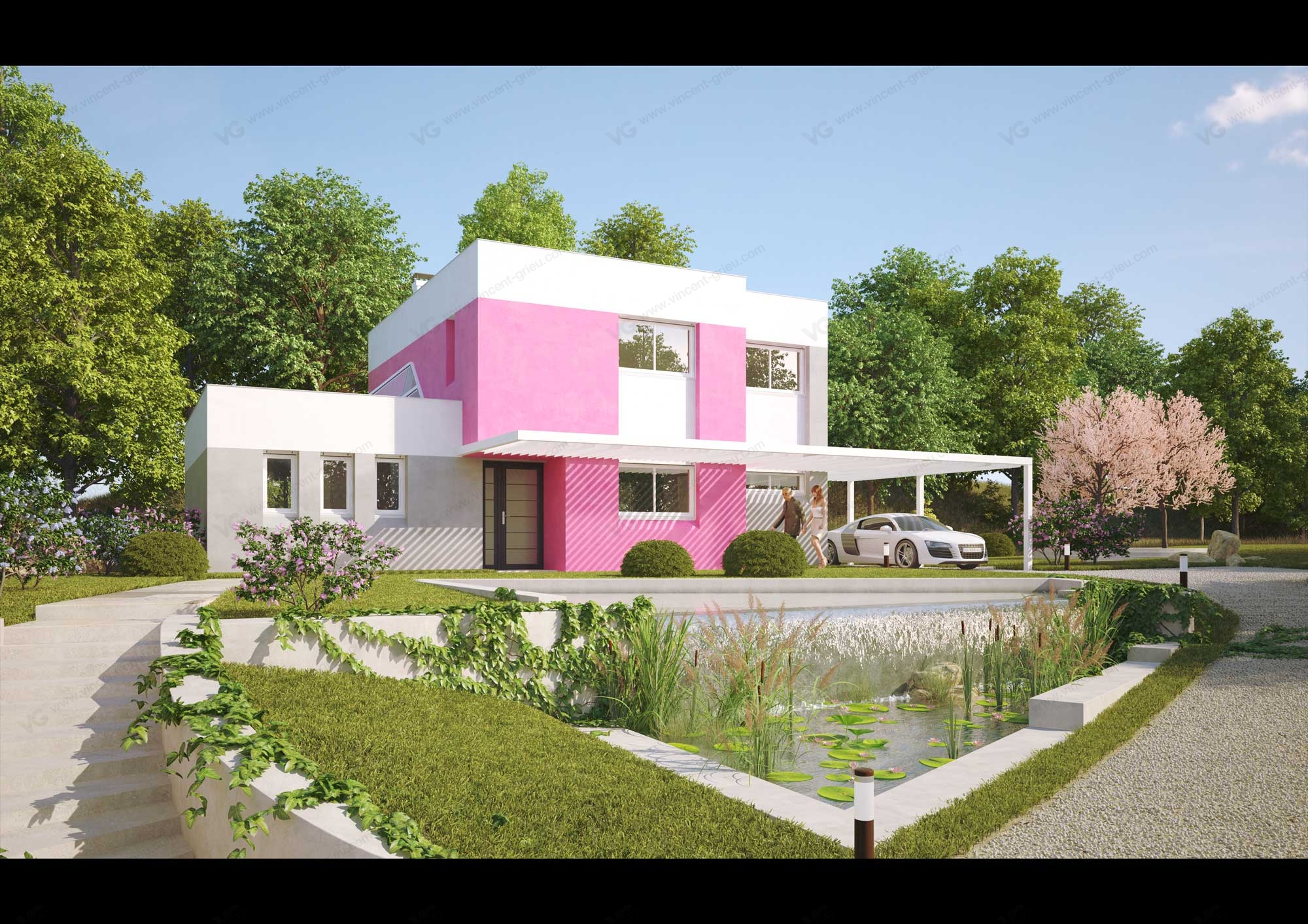R alisation de perspective 3d pour une villa contemporaine for Villa contemporaine plan